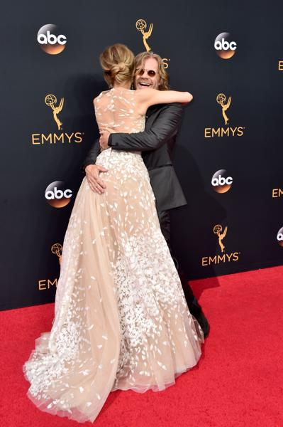 Actors Felicity Huffman (L) and William H. Macy attend the 68th Annual Primetime Emmy Awards at Microsoft Theater on September 18 in Los Angeles. (AFP)