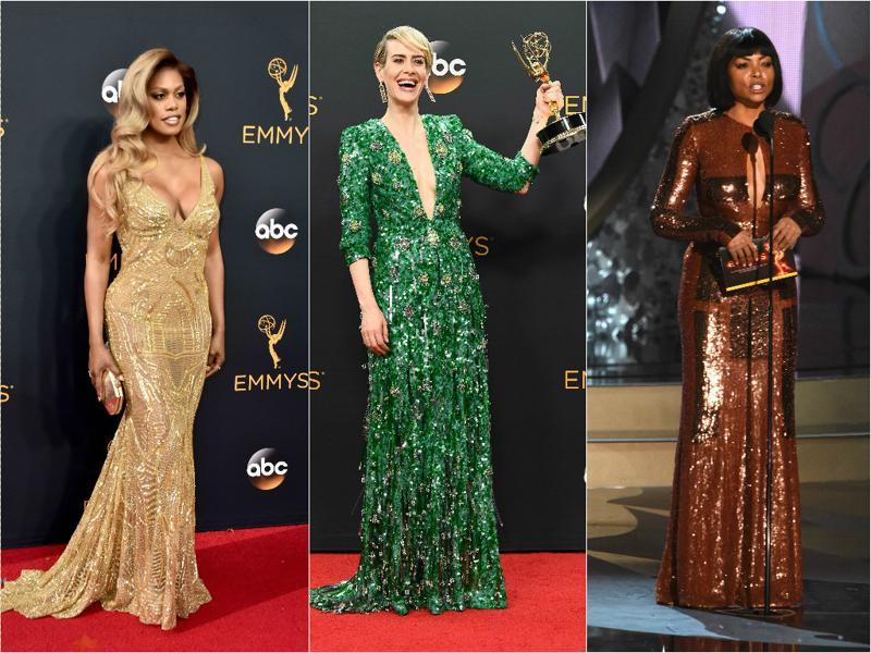 Several others, including actors Laverne Cox (L) and Sarah Paulson (C) generously contributed in making the awards night glittering (quite literally).   (Agencies)