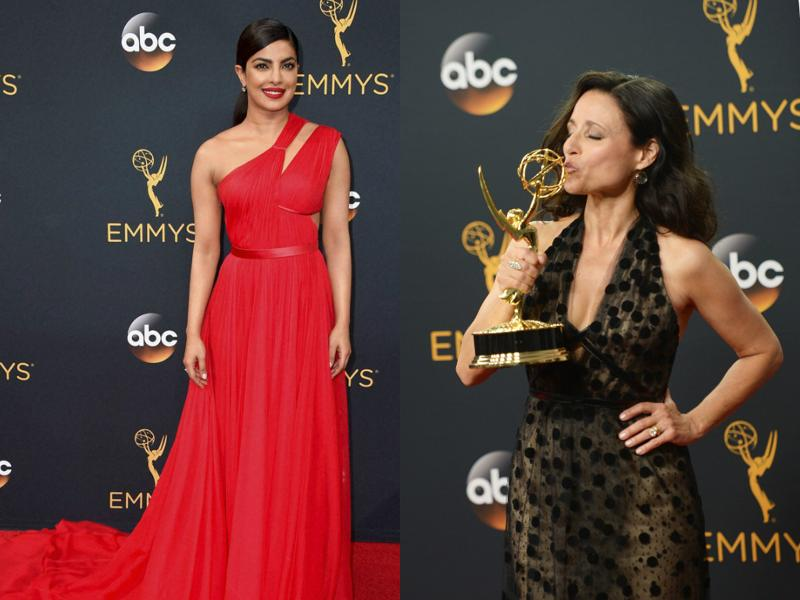 Julia Louis Dreyfus, who plays Selina Meyer on hit TV show Veep, bagged her fifth consecutive award this year for 'Lead Actress In a Comedy Series' .  Priyanka Chopra, too, attended the awards ceremony.