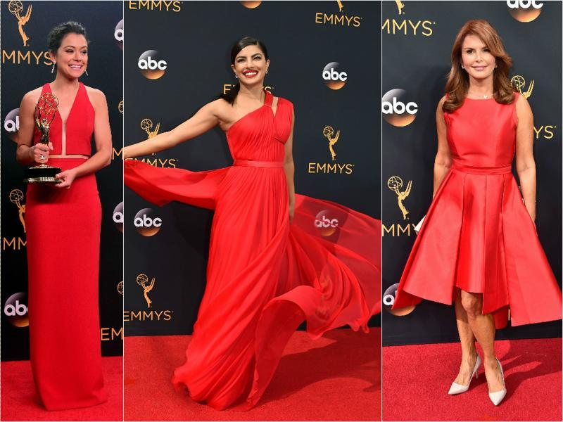 Priyanka Chopra sashaying down Emmys red carpet, slaying in hot scarlet pretty much defines the fashion quotient at the 68th Primetime Emmy Awards held in Los Angeles this year. Most women celebs stuck to solid colours and minimalist accessories, bringing 'less is more' back in vouge.  (Agencies)