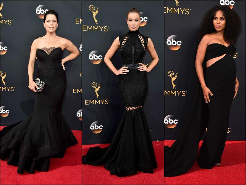 Women in black: Actors Neve Campbell, Stephanie Corneliussen and Kerry Washington successfully wore black and made it their own. (Agencies)