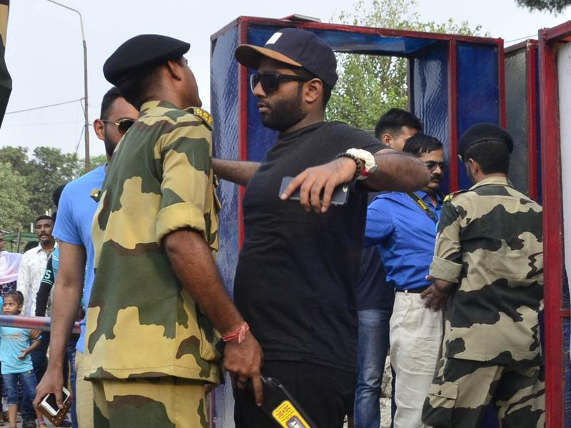 Security has been beefed up at Attari-Wagah border post the attack.  (Sameer Sehgal/HT Photo )