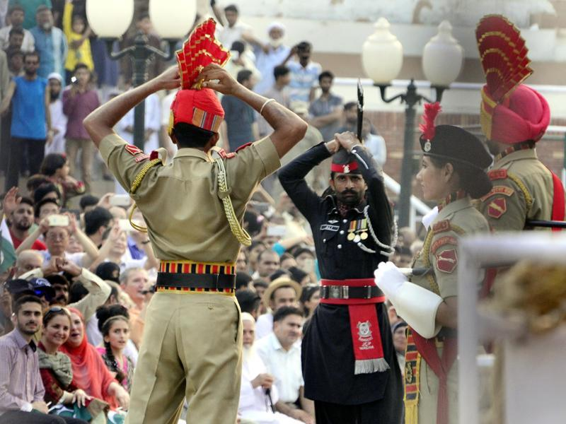 The size of Indian anger over the killing of 18 soldiers in the Uri terror attack was evident in the rush to the Monday-evening retreat ceremony at the Attari-Wagah border with Pakistan.  (Sameer Sehgal/HT Photo)