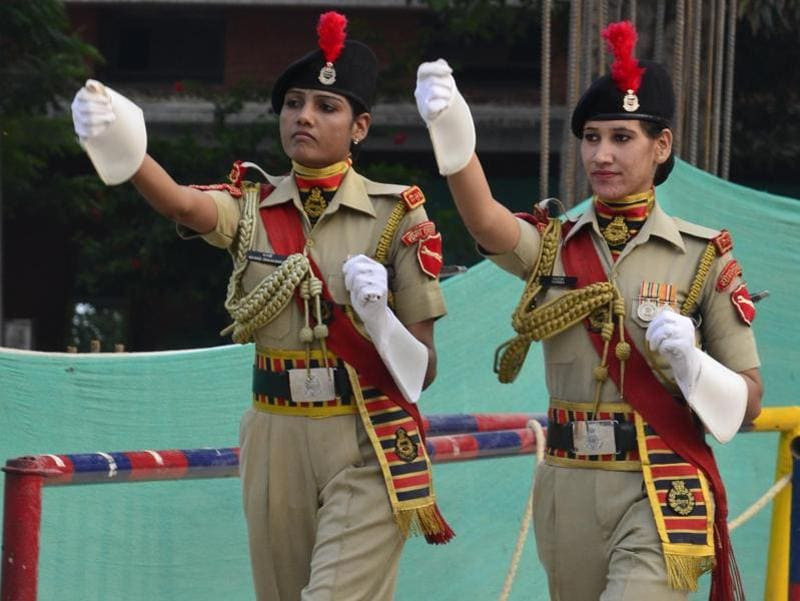 BSF jawans during the retreat ceremony at Attari-Wagah border in Amritsar on Monday.
