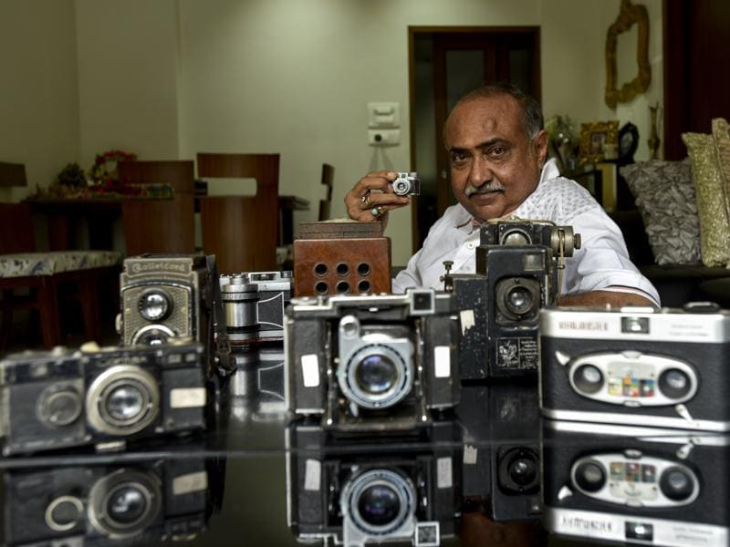 Photokina, the world's leading trade fair for photo and video, starts today in Cologne, Germany. In Mumbai, Dilish Parekh, the Guinness Book of World Record holder for the world's largest camera collection, shares with HT his personal museum , at his residence that now houses 4,425 exhibits , mostly antiques.  (Kunal Patil/Hindustan Times)