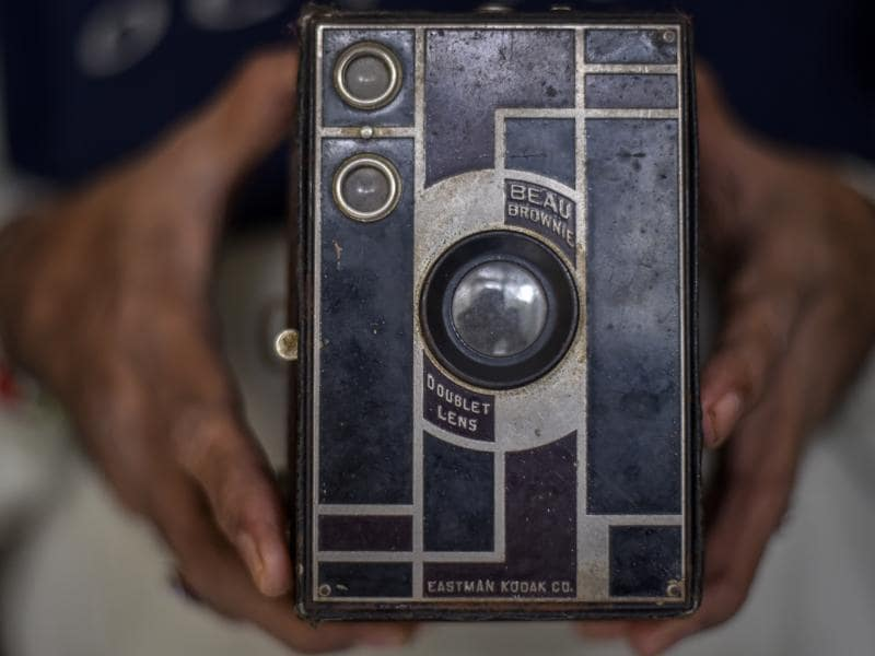 One of the most important milestones in camera history, A Beau Brownie Kodak from the early 1900s. The wildly popular and inexpensive Brownie camera, introduced the concept of the snapshot to the masses. (Kunal Patil/Hindustan Times)