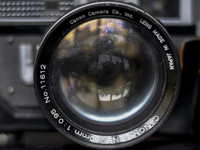 A closeup of the legendary Canon 50mm f0.95 aperture lens that was built for rangefinder cameras. The lens has been dubbed  an old 'dream lens' by camera collectors. (Kunal Patil/Hindustan Times)