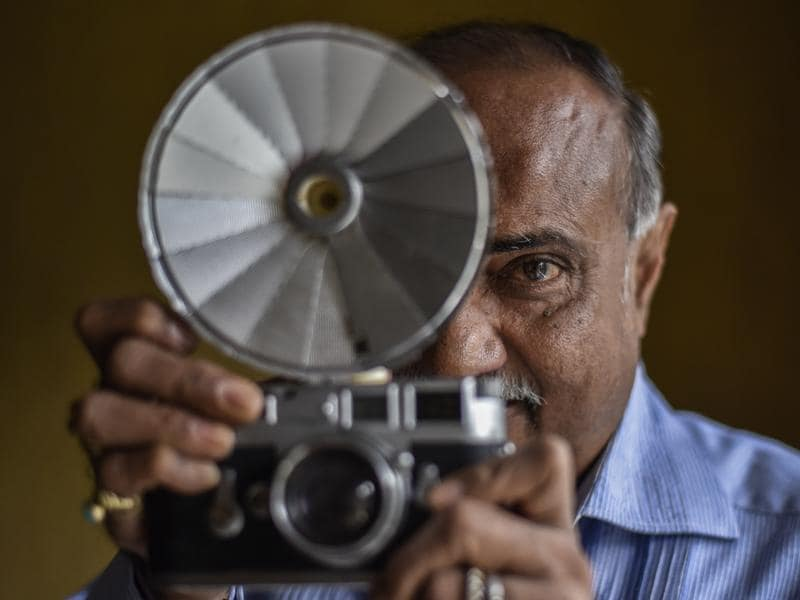 A post-war Canon make rangefinder camera from 1948. Dominant Japanese camera makers from this era branched out to building the SLR cameras of the future.  (Kunal Patil/Hindustan Times)
