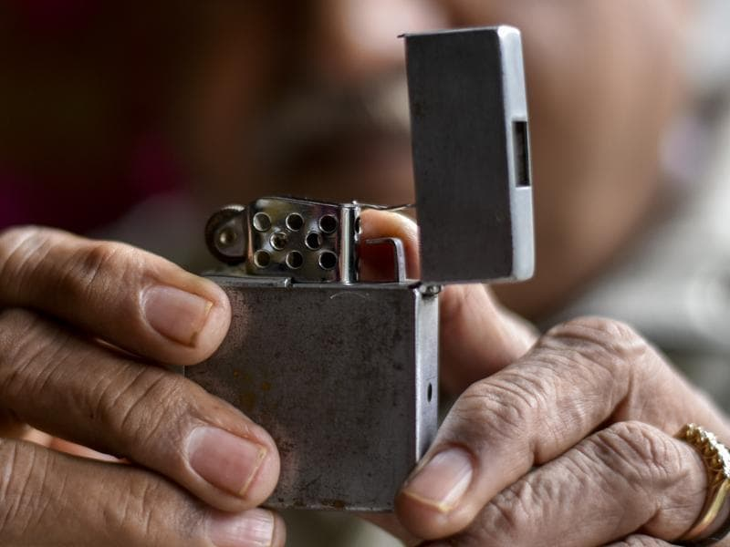 An antique lighter spy camera. (Kunal Patil/Hindustan Times)