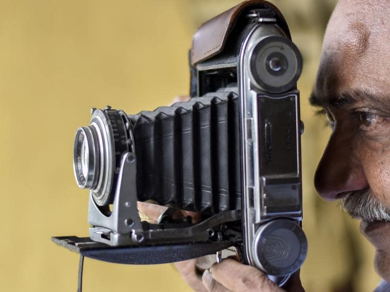A German-made 1960 Voigtlander Bessa 2 collapsible bellows camera. 'Cameras are my life. I can't stay without them', Parekh says. (Kunal Patil/Hindustan Times)