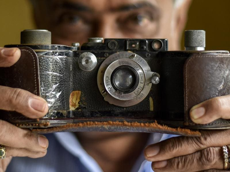 A rare Leica 250  screw mount rangefinder camera  from 1938. The specially made film cassette could enable it to shoot 250 exposures in one go.   (Kunal Patil/Hindustan Times)