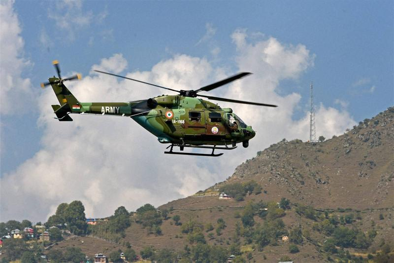 An Army chopper at surveillance during the attack in Uri. (PTI Photo)