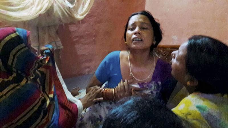 Wife of Havildar Ashok Kumar who was killed in the Uri attack mourns her loss in Bhojpur district on Monday (PTI)