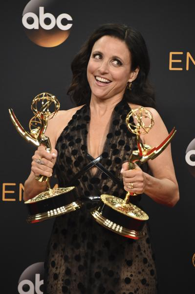 "Julia Louis-Dreyfus winner of the award for outstanding lead actress in a comedy series and best comedy series for ""Veep"" poses in the press room at the 68th Primetime Emmy Awards on Sunday, Sept. 18, 2016, at the Microsoft Theater in Los Angeles. (Photo by Jordan Strauss/Invision/AP) (Jordan Strauss/Invision/AP)"