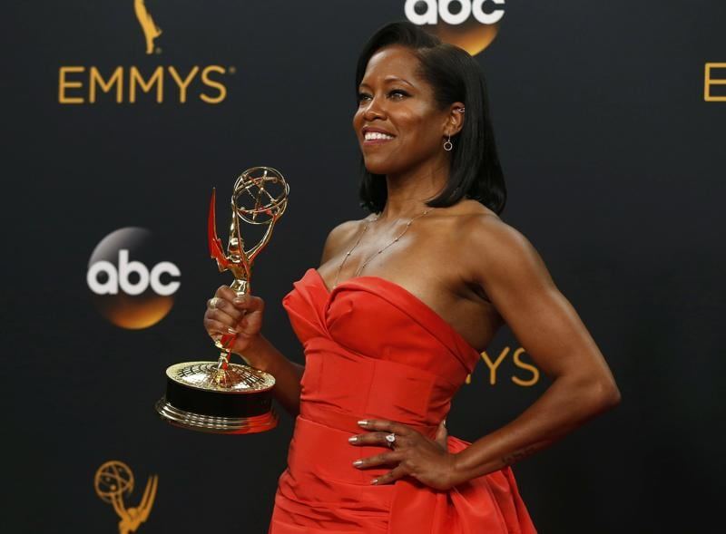 Regina King poses backstage with her award for Outstanding Supporting Actress In A Limited Series Or Movie for