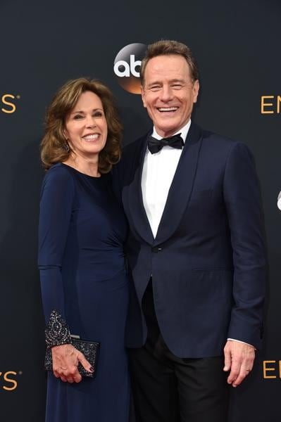 Actor Bryan Cranston and his wife, actress Robin Dearden, arrive for the 68th Emmy Awards on September 18. (AFP)