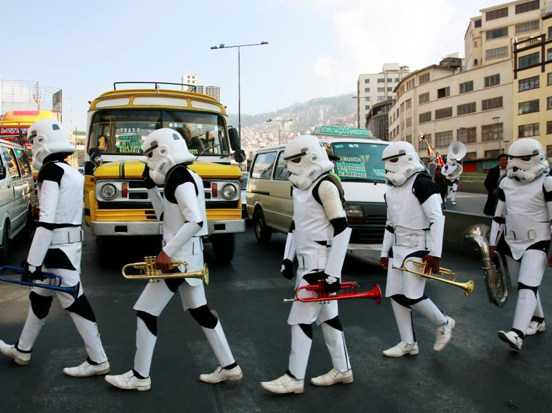 Members of a school band wearing Star Wars costumes walk in the centre of La Paz, Bolivia. (REUTERS)