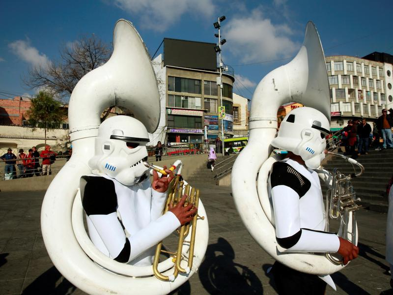 Members of a school band wearing Star Wars costumes perform at San Francisco square in the centre of La Paz, Bolivia. (REUTERS)