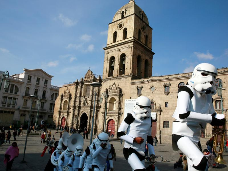 Members of a school band wearing Star Wars costumes walk to perform at San Francisco square in the centre of La Paz, Bolivia. (REUTERS)