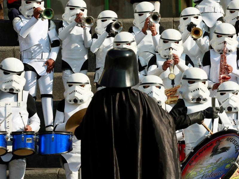 Members of Litoral school band from Caracollo wearing Star Wars costumes perform at San Francisco square in La Paz, Bolivia. (REUTERS)