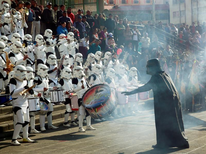 Members of the Litoral school band from Caracollo wearing Star Wars costumes perform at San Francisco square. (REUTERS)