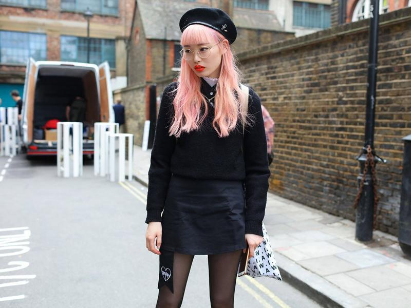 Pink hair and yorange (yes, yellow/orange) were the story on the streets of the British capital. Click through for our eye-popping selection of outfits from LFW.