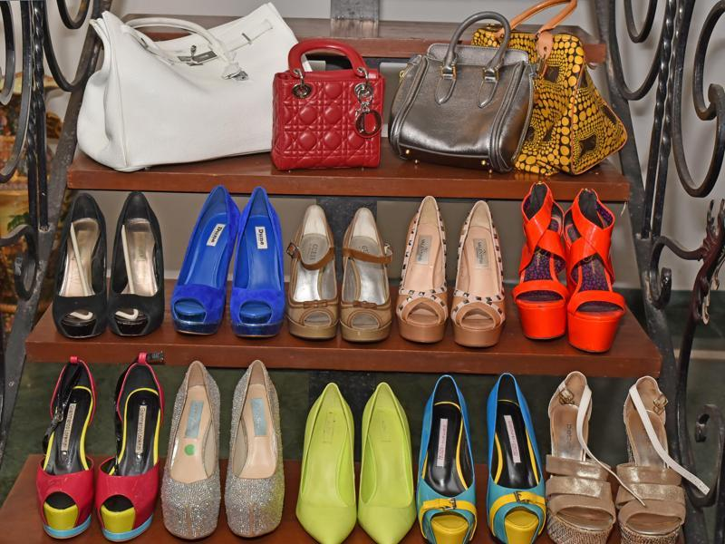 Shoes and bags from Mukerji's collection (Vidya Subramanian/Hindustan Times)
