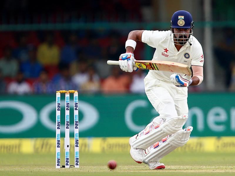 India's Lokesh Rahul plays a shot. (REUTERS)