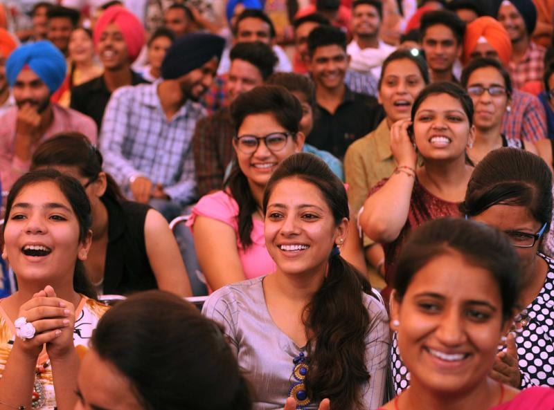 Audience during the talent hunt show at Modi College in Patiala on Friday.   (Bharat Bhushan/HT Photo)