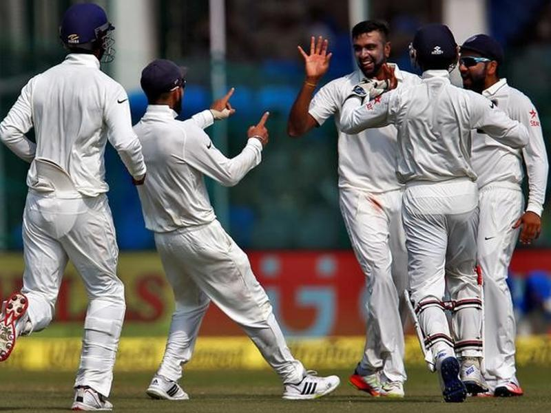 India's Ravichandran Ashwin celebrates with teammates after taking the wicket of  Kane Williamson. (REUTERS)