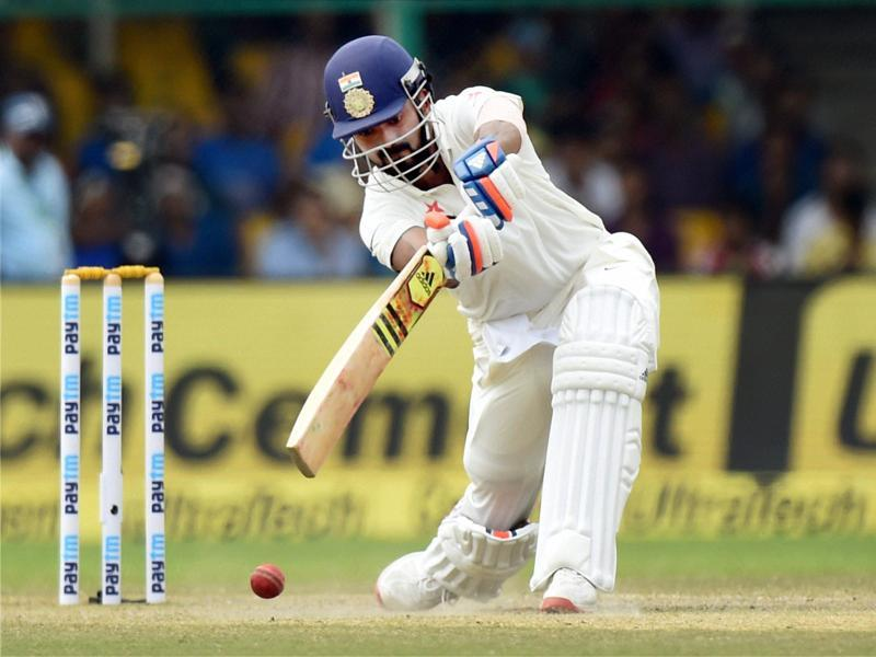 K. L. Rahul plays a shot during India's second innings on the third day of the first Test match. (PTI photo)