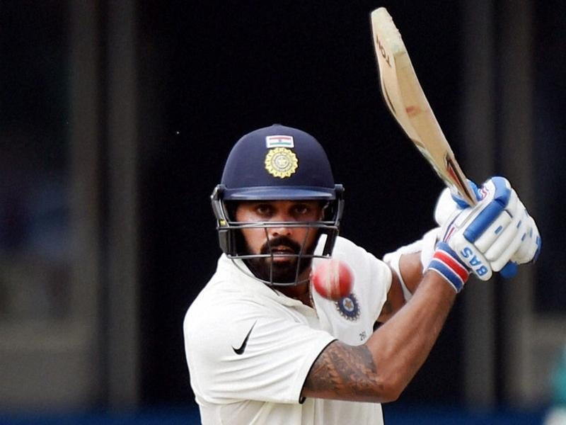 Murali Vijay plays a shot during India's second innings on the third day of the first Test match against New Zealand. (PTI photo)