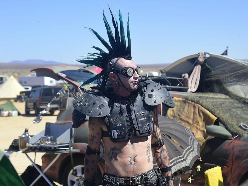 "Welcome to Wastelands Weekend, an annual orgy of ""cosplay"" -- dressing up to the layman -- where fans of the Mad Max film franchise flock from all over the continent. (AFP)"