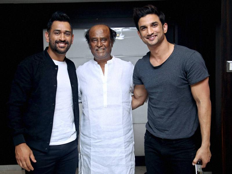 Cricketer Mahendra Singh Dhoni with Bollywood actor Sushant Singh Rajput and super star Rajinikanth at a promotional event in Chennai. (PTI Photo)