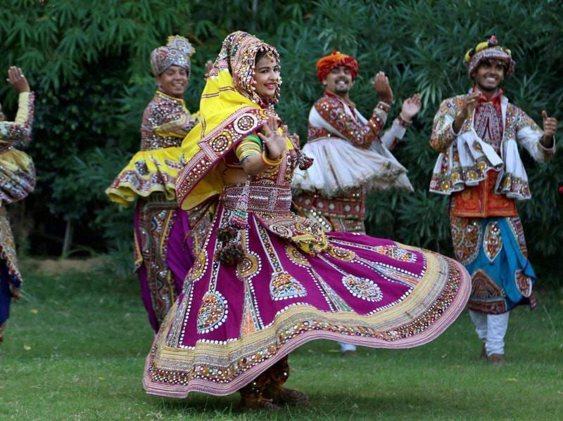 Youngsters practice Garba ahead of Navratri and oh so gracefully. (PTI)