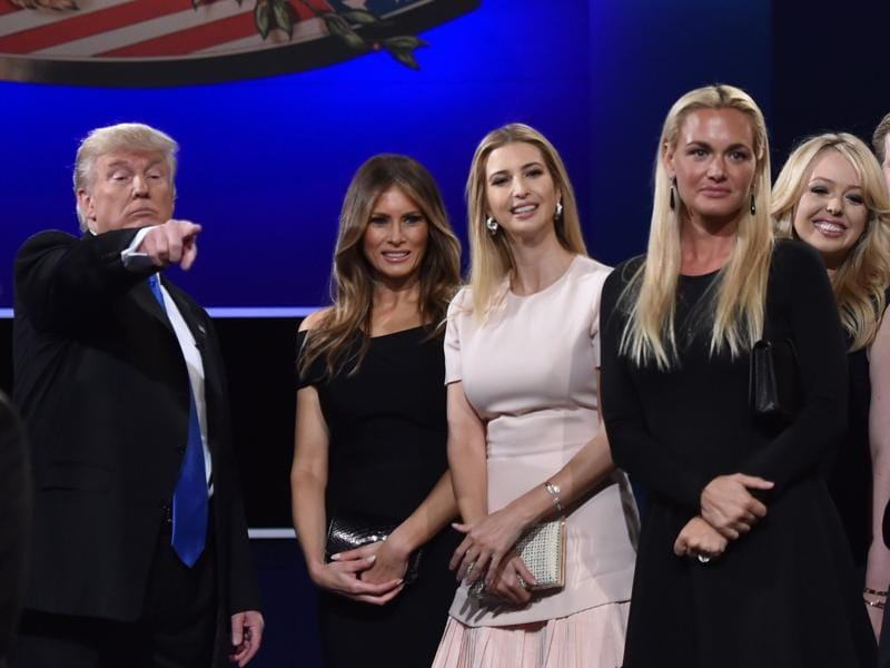 (From left) Republican nominee Donald Trump, Melania Trump, Ivanka Trump, Donald Trump Jr.'s wife Vanessa Trump look on from the stage after the first presidential debate. (AFP Photo)