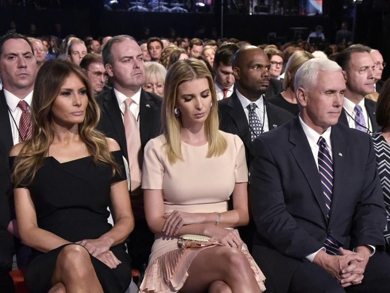 (From left) Melania Trump, Ivanka Trump, and Republican vice presidential nominee Mike Pence are seen in the audience of the first presidential debate at Hofstra University in Hempstead, New York. (AFP Photo)