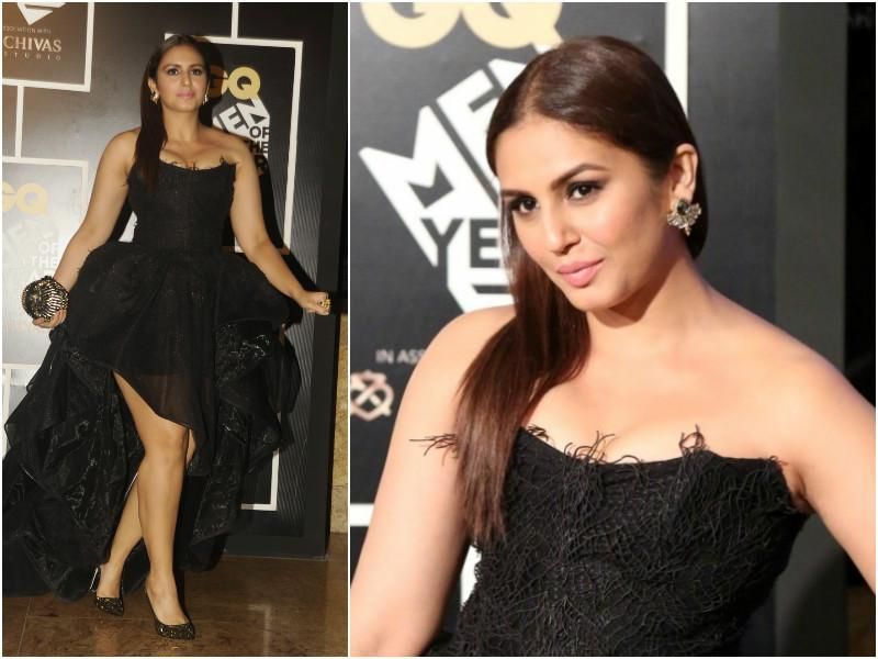Actor Huma Qureshi opted for a black number with a clenched corset and a high-low hemline. (Agencies)