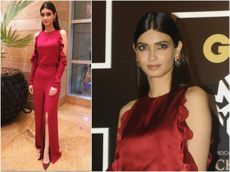 Diana Penty was a lady in red in this cold shoulder jumpsuit. (Agencies)
