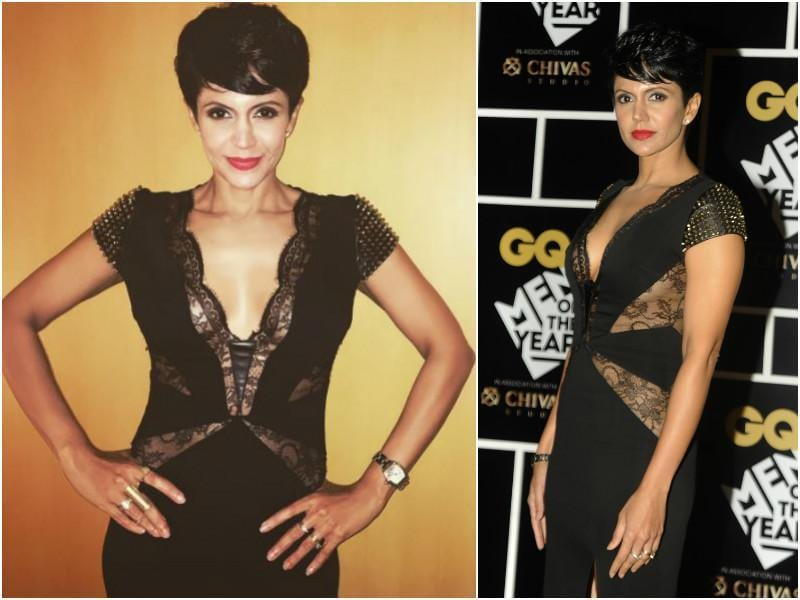Mandira Bedi has a figure to die for. She wore a black dress with lacework and a plunging neckline.