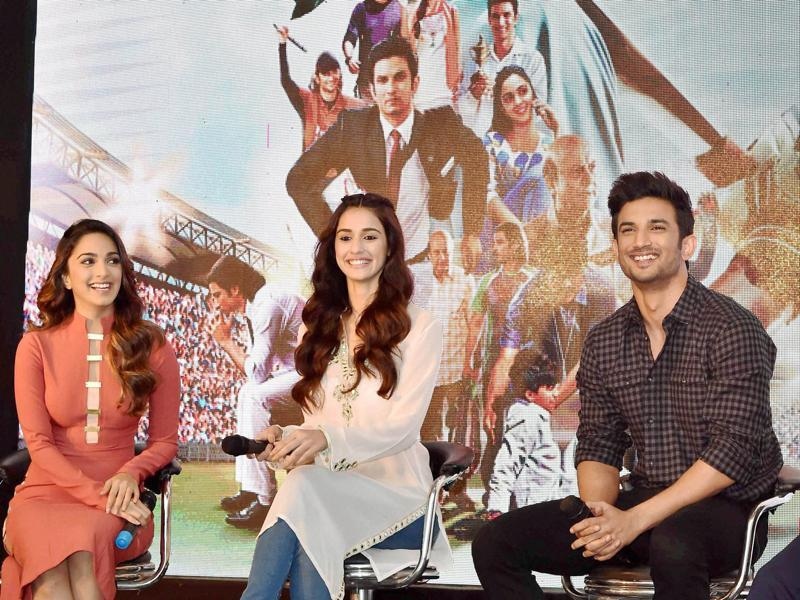 Sushant Singh Rajput, Disha Patani and Kiara Advani also went to Lucknow to promote their film. (PTI Photo)