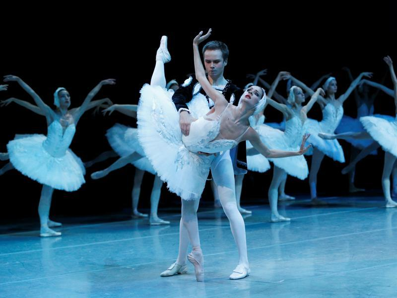 Principal dancers Ekaterina Borchenko and Leonid Sarafanov perform Pyotr Tchaikovsky's Swan Lake ballet at the Mikhailovsky theatre in St. Petersburg, Russia, on Wednesday.  (Reuters)