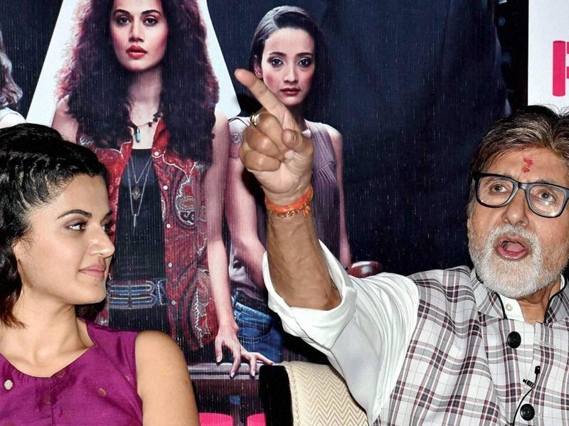 Amitabh Bachchan interacts with media as Taapsee Pannu looks on during promotion of their film Pink in Kolkata. (PTI Photo)