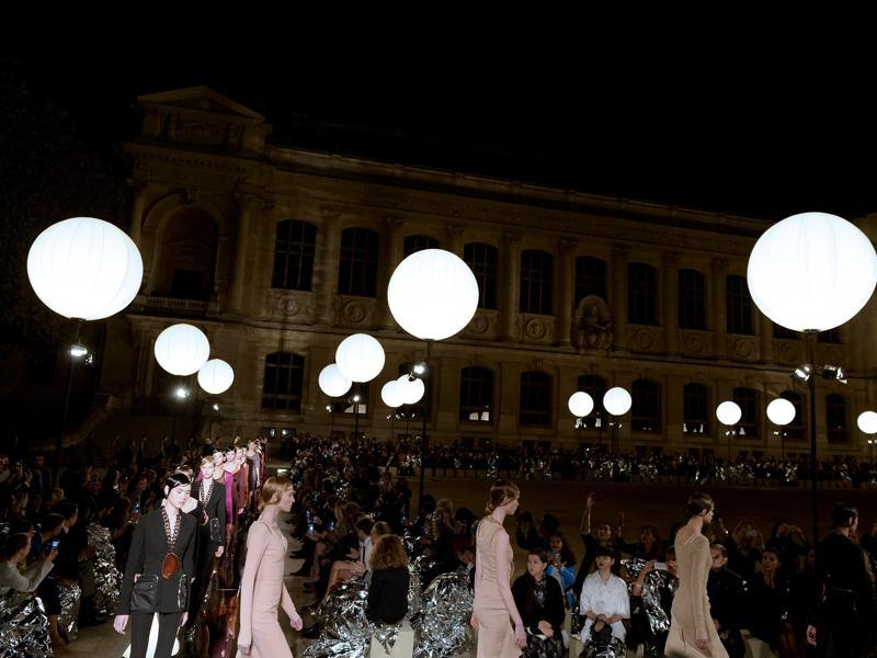 Models walk the ramp for Givenchy. (AFP)