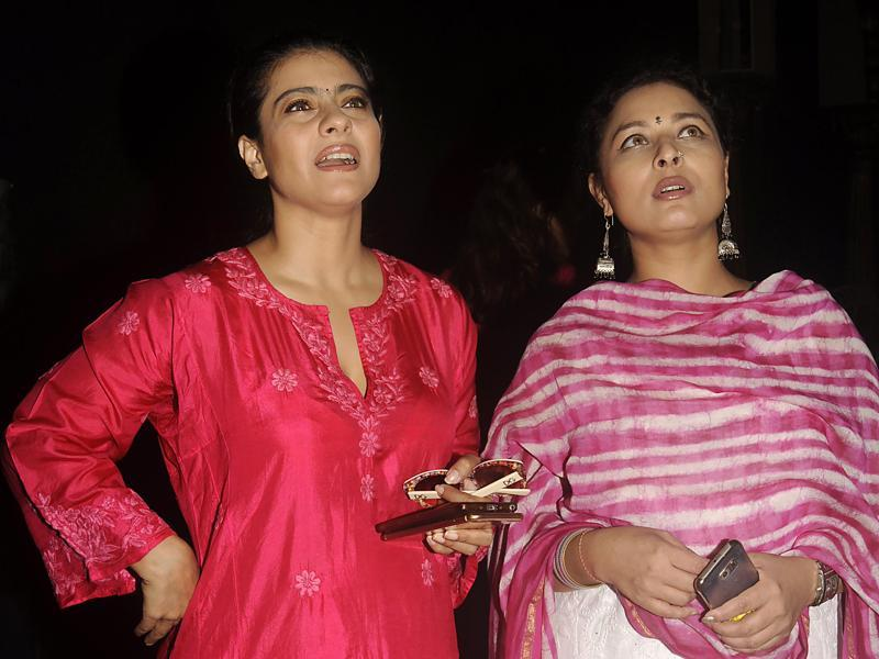 Kajol and Sarbani see through the preparations of the upcoming Durga Puja (AFP)