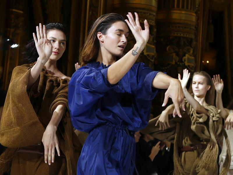 Models dance during the presentation of Stella McCartney's Spring-Summer 2017 Ready to Wear fashion collection presented Monday. (AP)