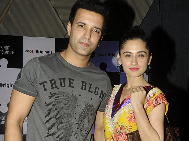 TV actor Aamir Ali Malik with his wife Sanjeeda Sheikh at the screening of a TV show. (AFP Photo)