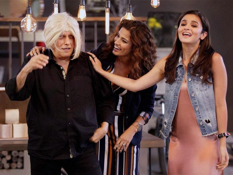 Bollywood filmmaker Mahesh Bhatt with Alia Bhatt and host Kamal Sidhu at the shoot of Vogue BFFs on Colors Infinity in Mumbai. (PTI Photo)