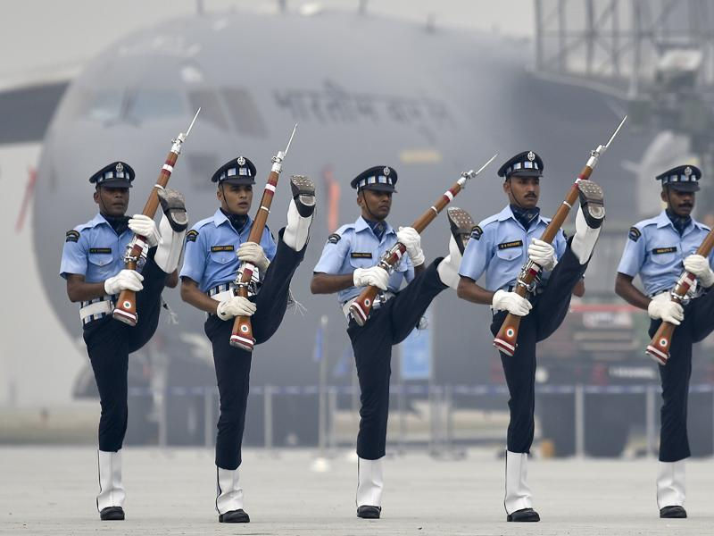 Indian Air Force's 'Air Warrior' drill team perform at the parade rehearsals at the Air Force Station Hindon.  (Raj K Raj/HT PHOTO)