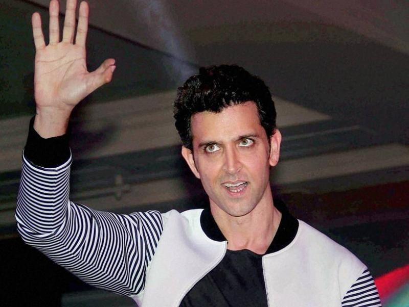 Hrithik Roshan gestures during the launch of an app in Mumbai. (PTI Photo)